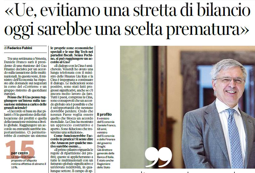 Corriere della sera di oggi - ministro Franco